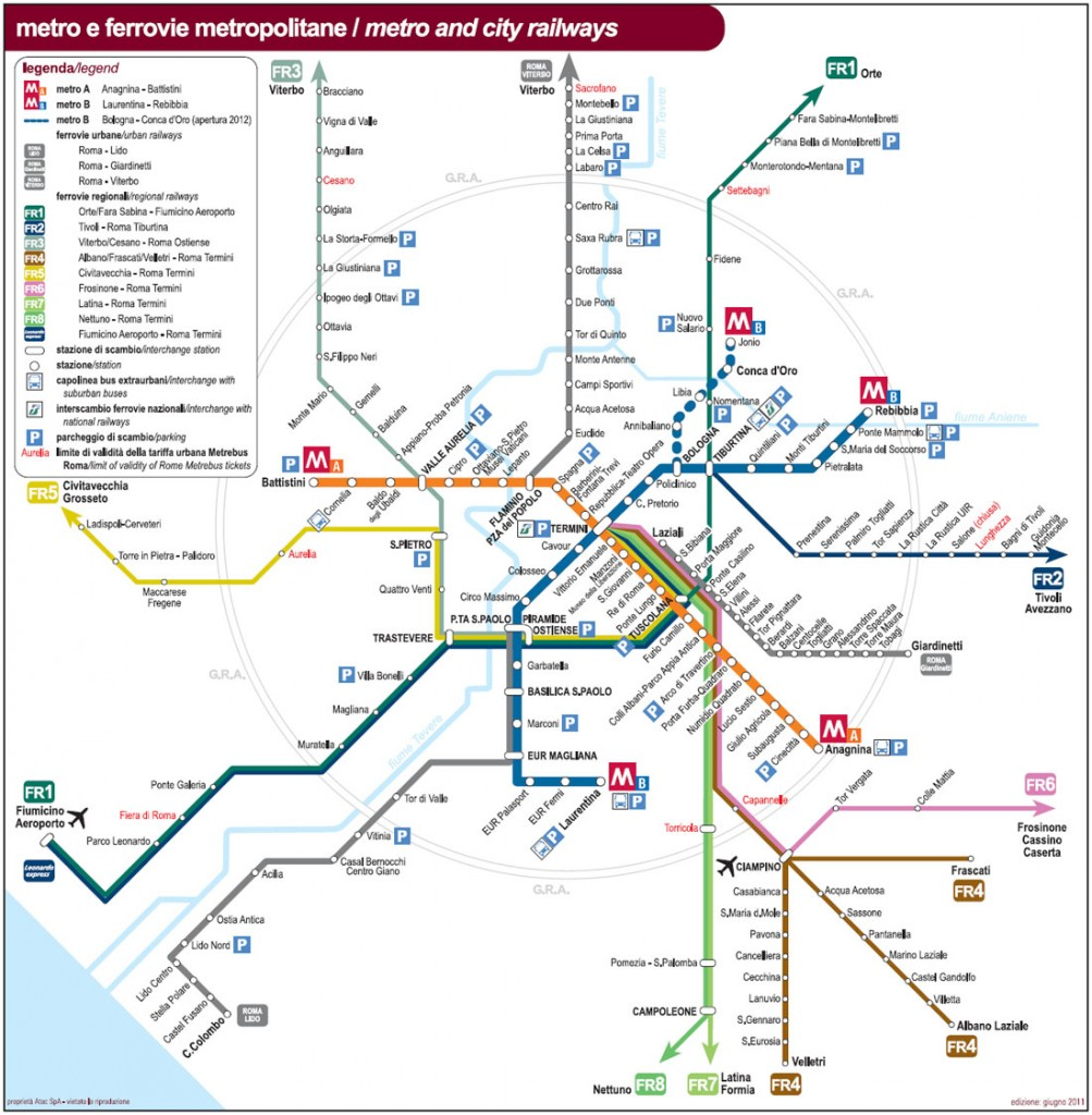 Map of subway in Rome